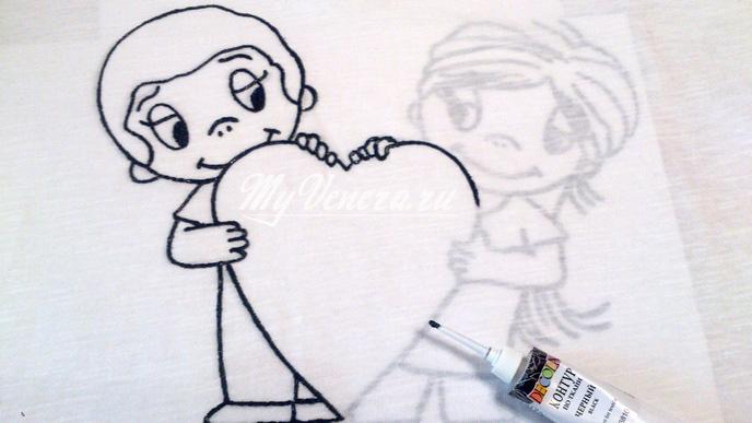 Рисунок по ткани красками